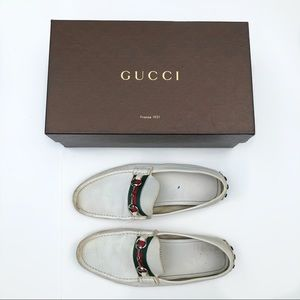 Gucci White Leather Mens Horsebit Loafers